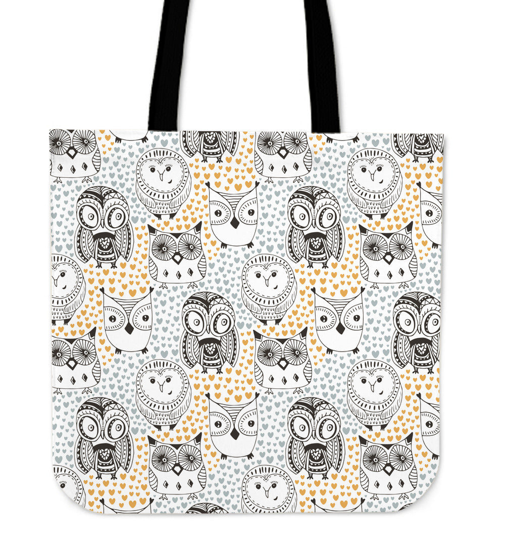 Owl Hearts Linen Tote Bag