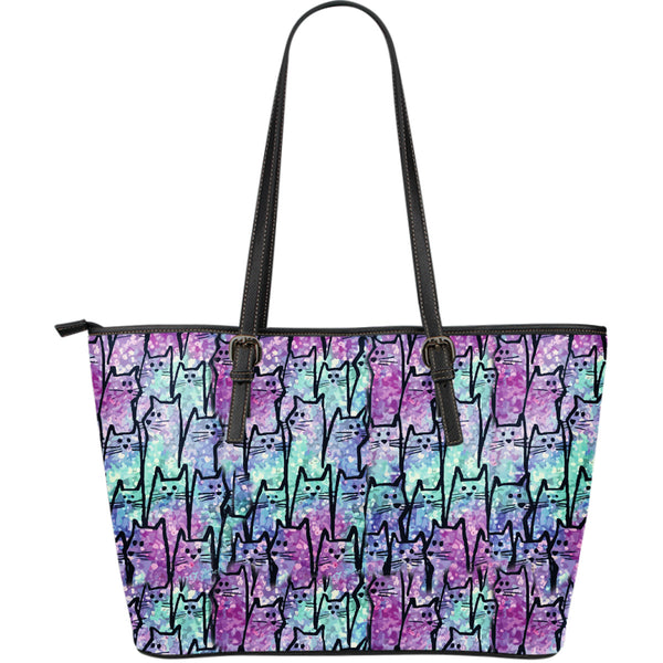 Glowing Cats Leather Tote