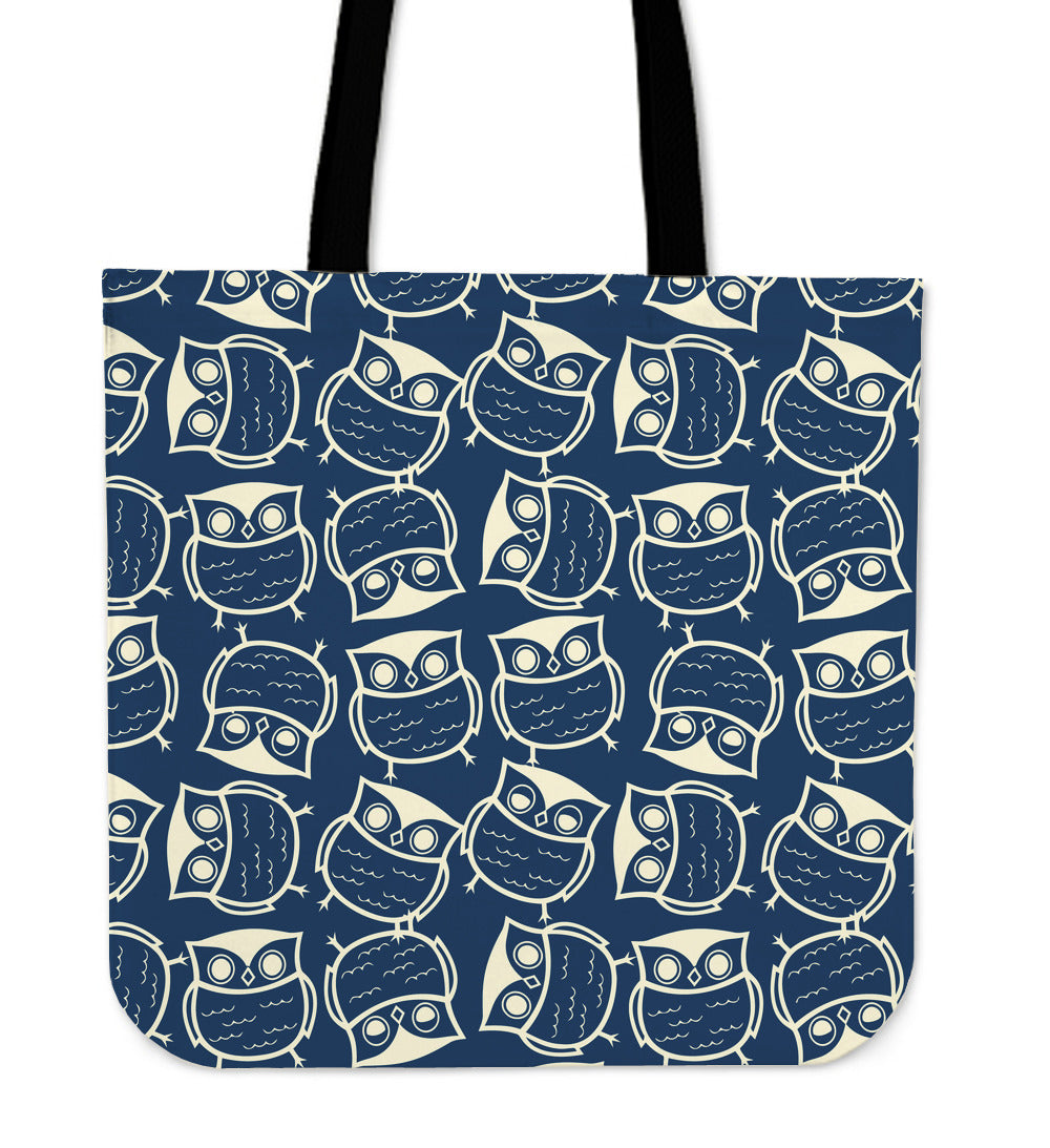 Blue Owls Linen Tote Bag