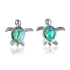 Green Opal Turtle Earrings