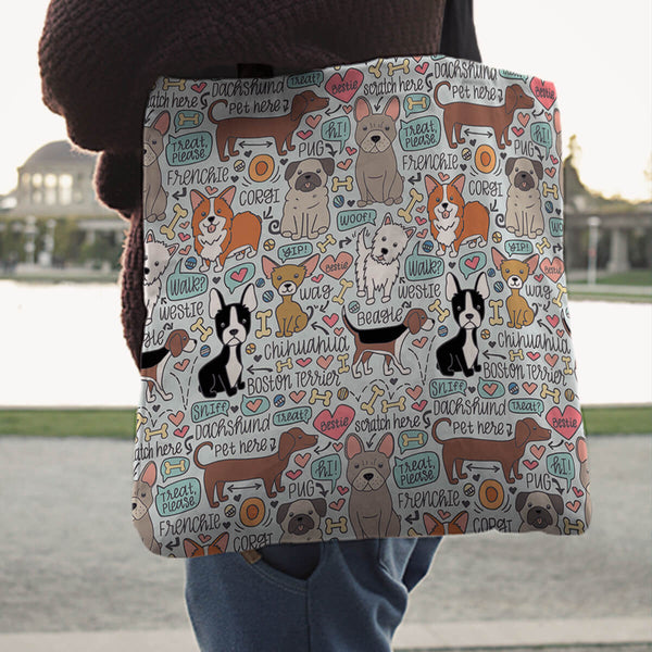 Lots of Pooches Linen Tote Bag