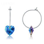 Blue Heart Hoop Earrings