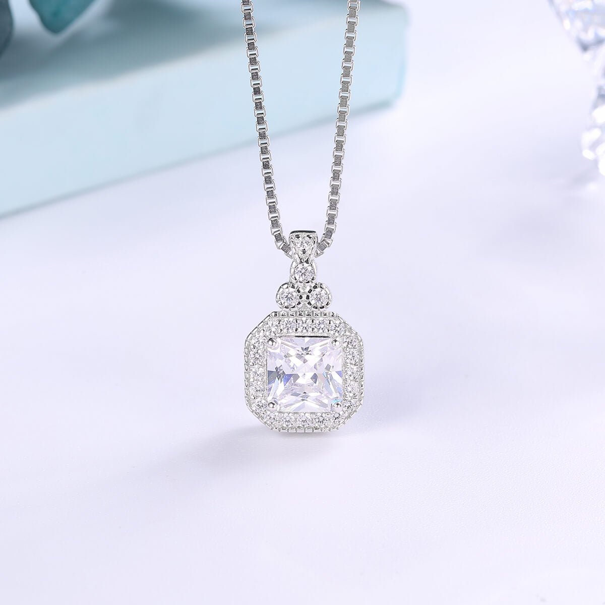 Antique Asscher Cut Necklace