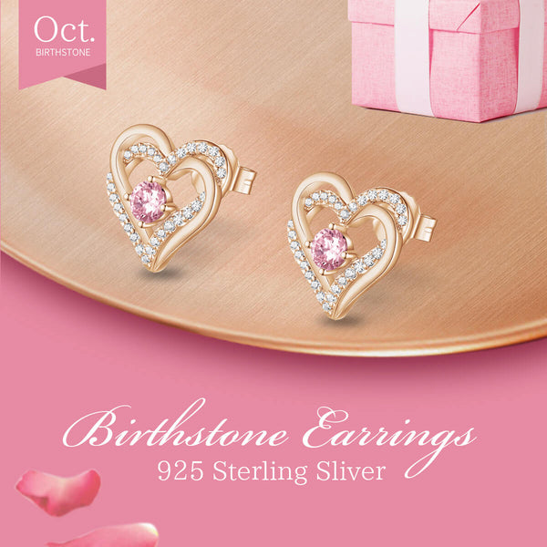 October Rose Gold Birthstone Earrings
