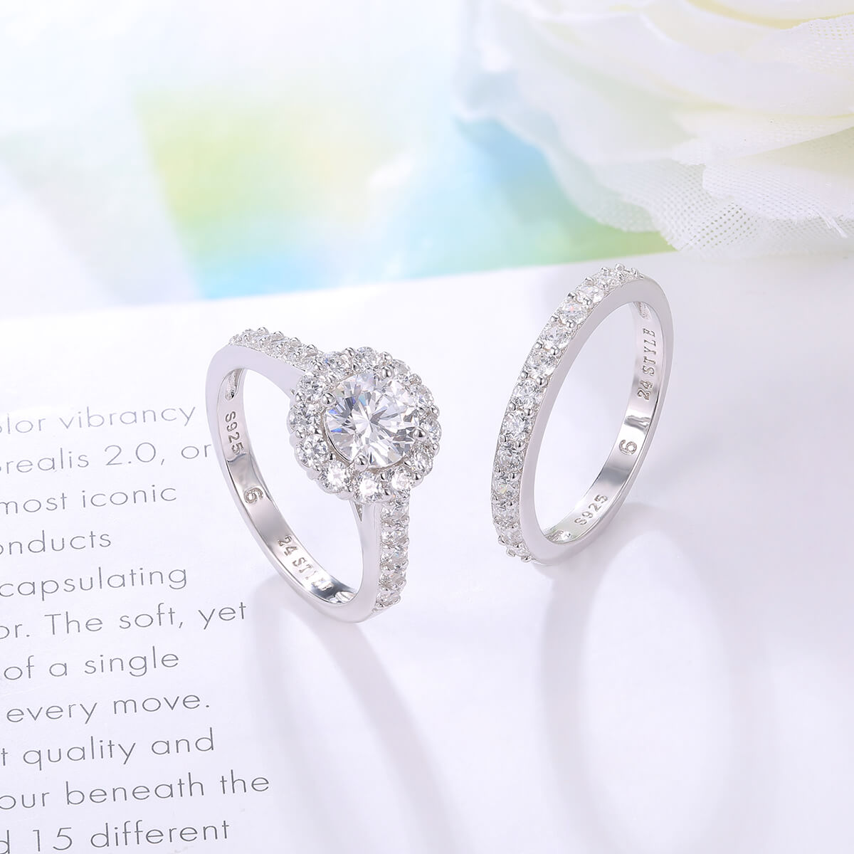 Crystal Halo Ring Set