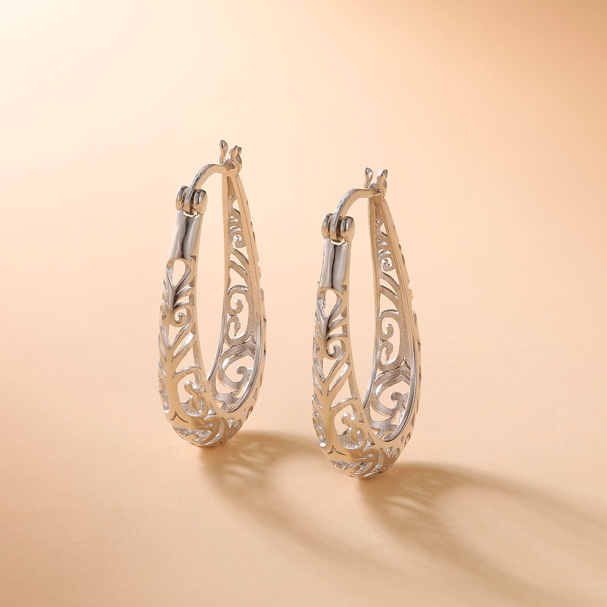 Silver Filigree Hoop Earrings