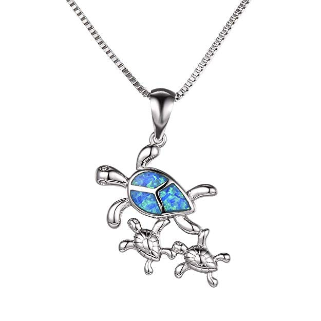 Turtle Family Blue Opal Necklace - 24 Style