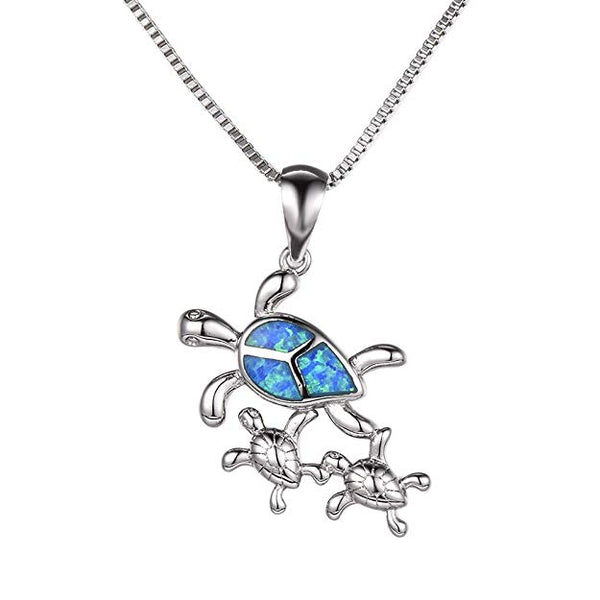 Turtle Family Blue Opal Necklace