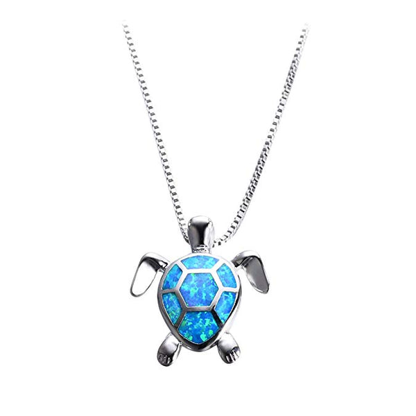 Blue Opal Silver Turtle Necklace