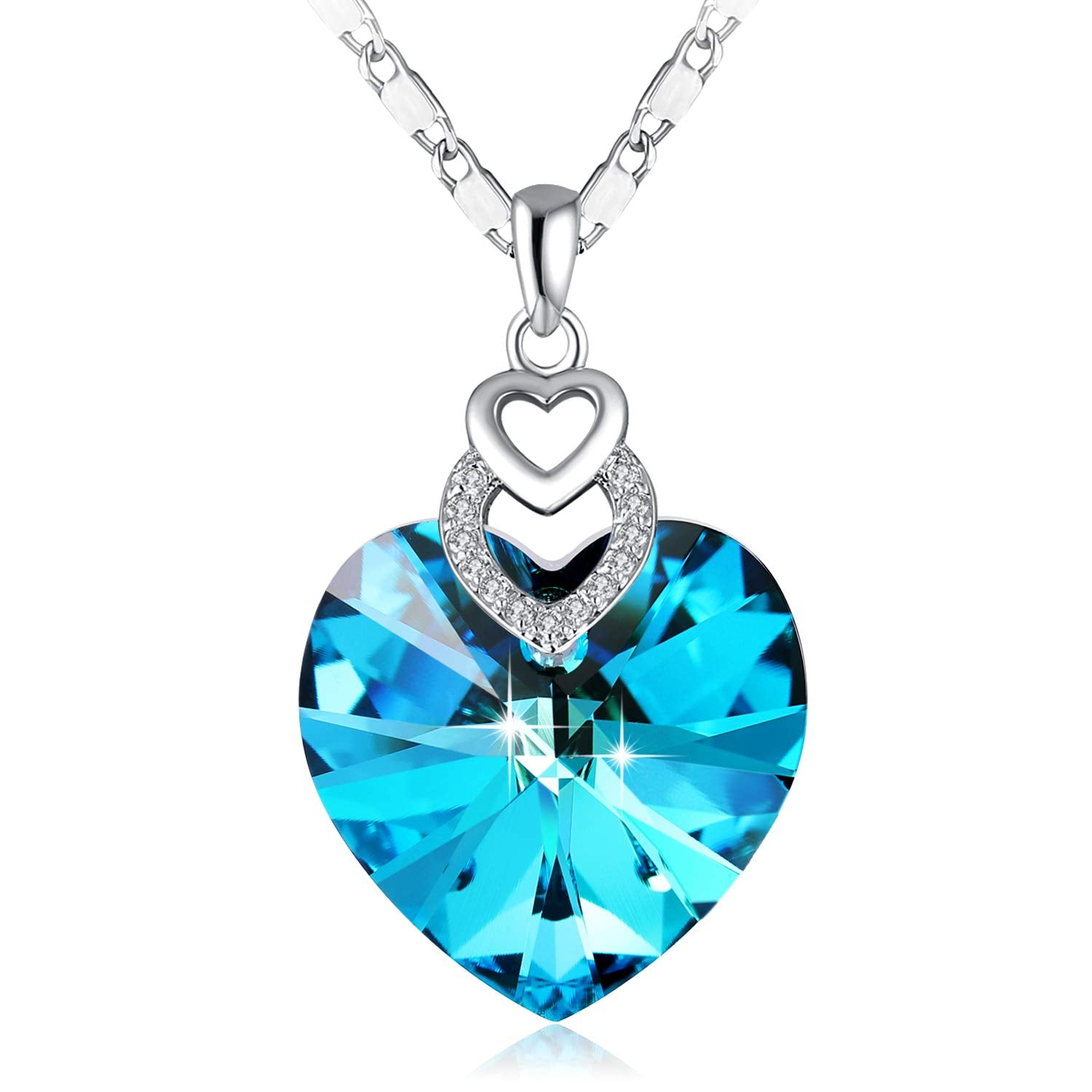 Ocean Blue Three Heart Necklace - 24 Style