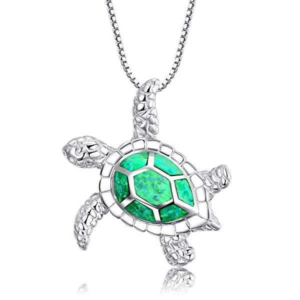 Green Opal Turtle Necklace