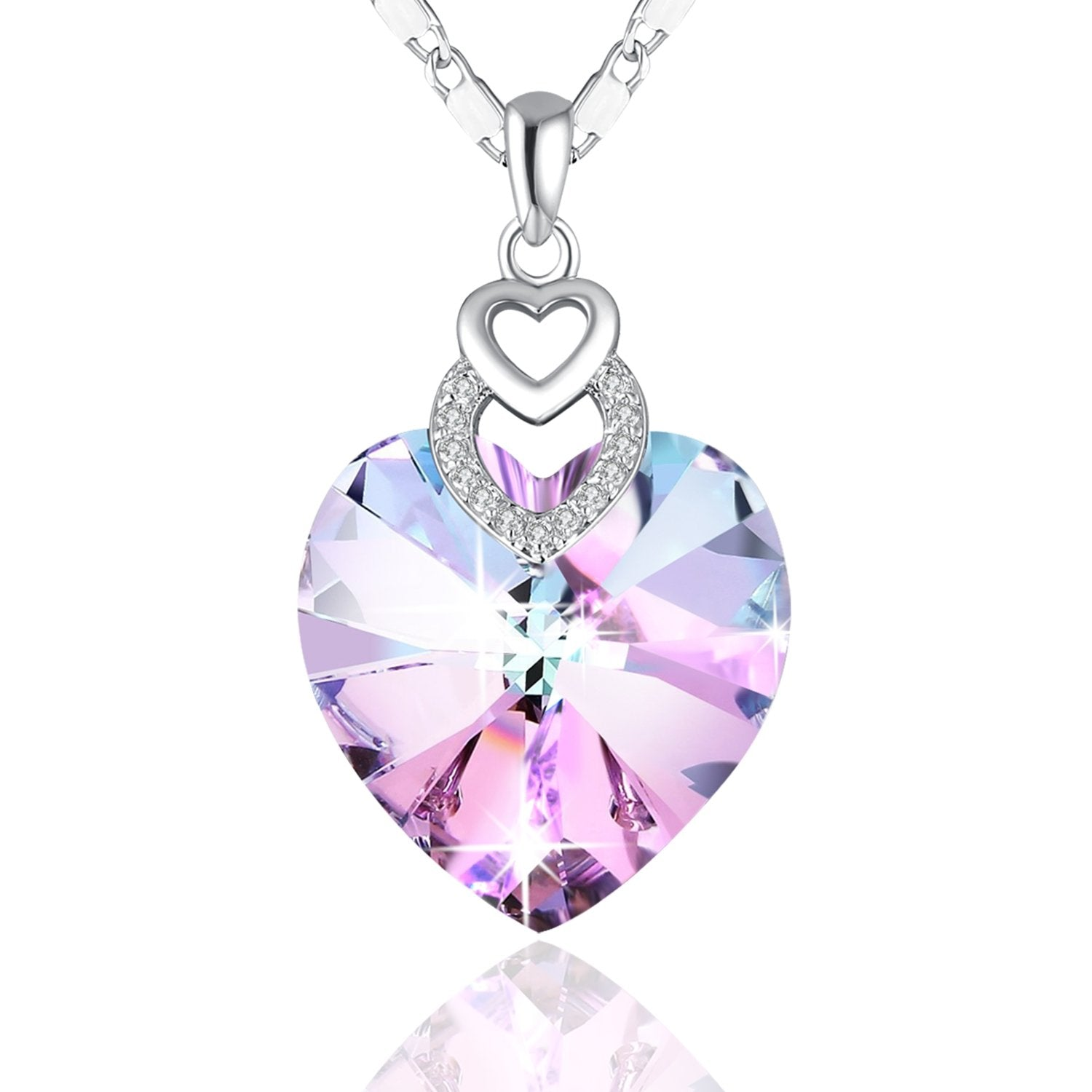 Pink Crystal Three Heart Necklace