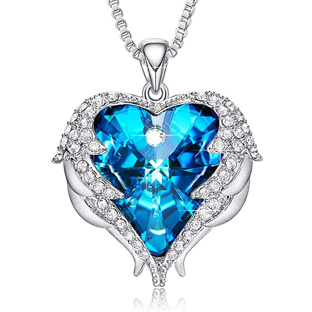 Blue Heart & Wing Necklace