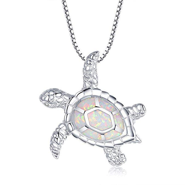 White Opal Turtle Necklace