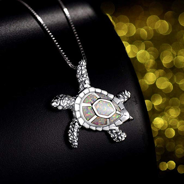 White Opal Turtle Necklace - 24 Style