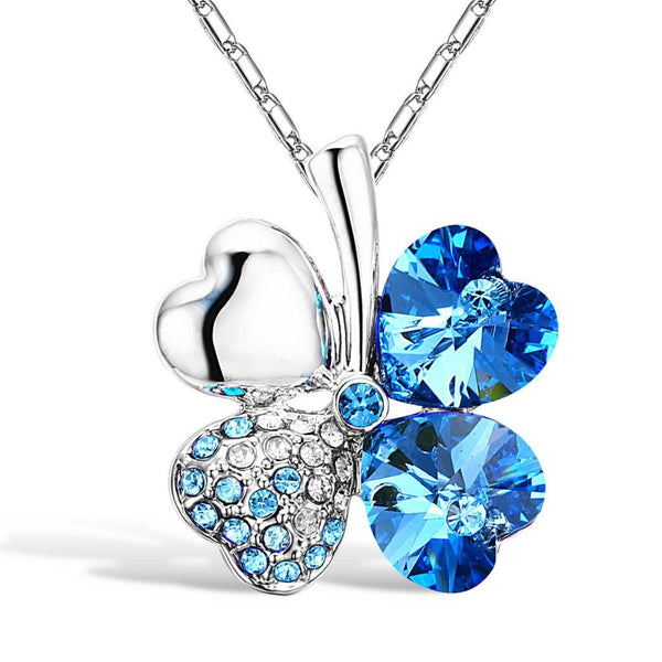 Blue Four Heart Clover Necklace - 24 Style