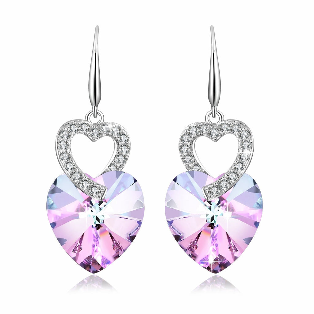 Pink Crystal Heart Earrings - 24 Style