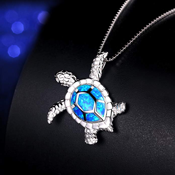 Blue Opal Sea Turtle Necklace - 24 Style
