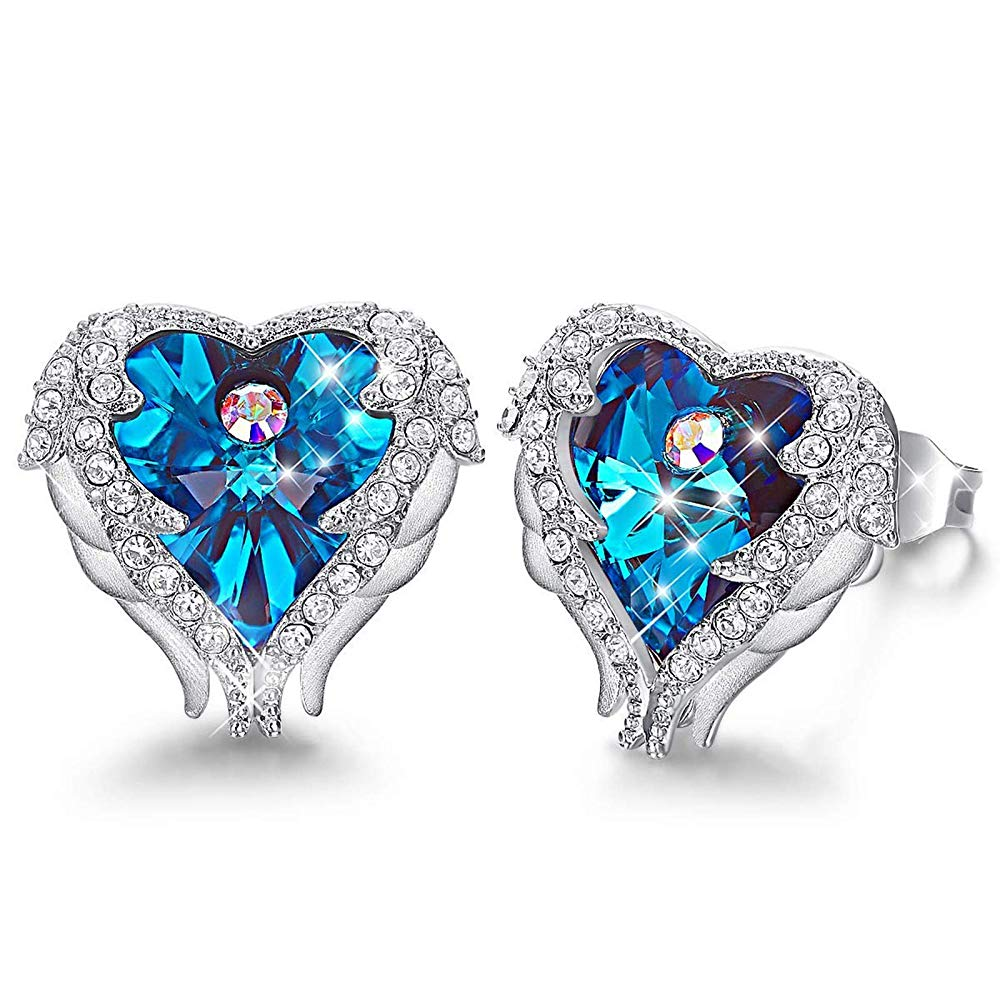 Blue Heart & Wings Earrings - 24 Style