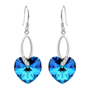 Blue Crystal Heart Earrings - 24 Style