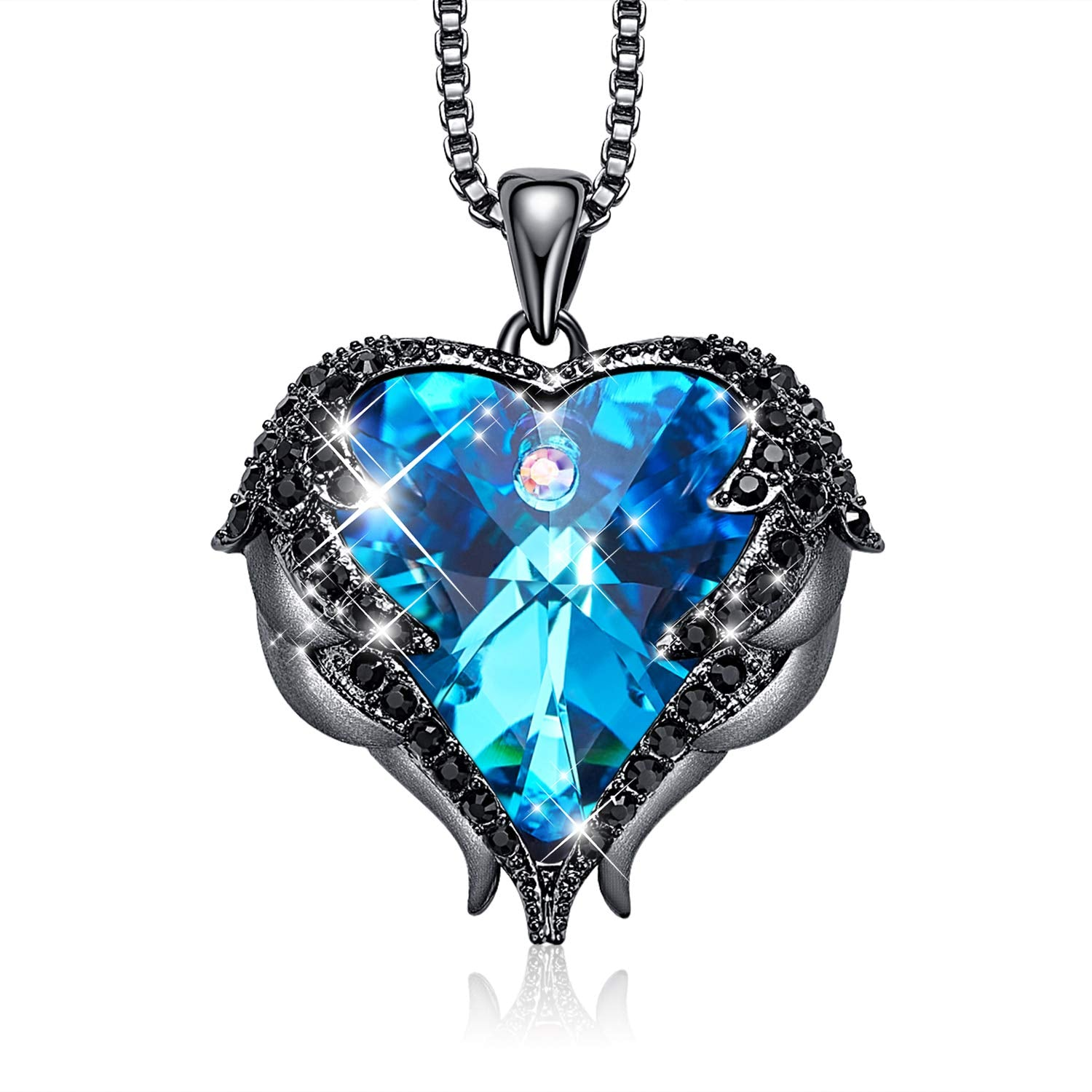 Dark Blue Heart & Wing Necklace