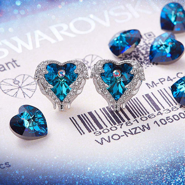 Blue Heart & Wings Earrings