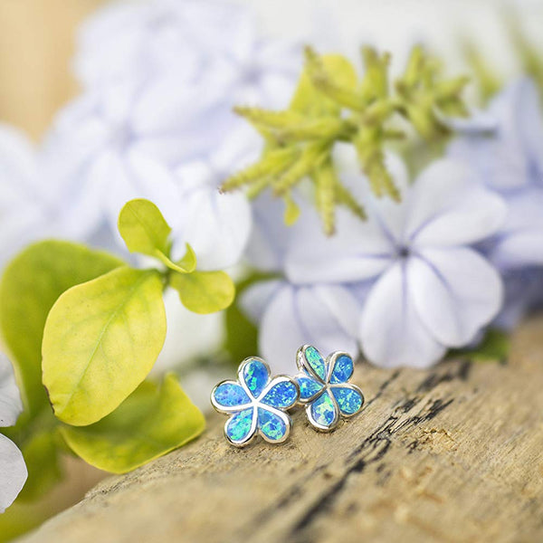 Blue Opal Flower Earrings