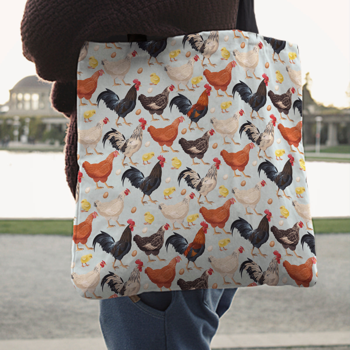 Chicken Linen Tote Bag