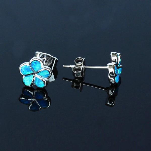 Blue Opal Flower Earrings - 24 Style