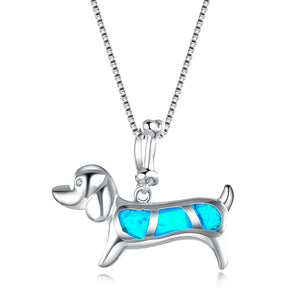 Dachshund Blue Opal Necklace