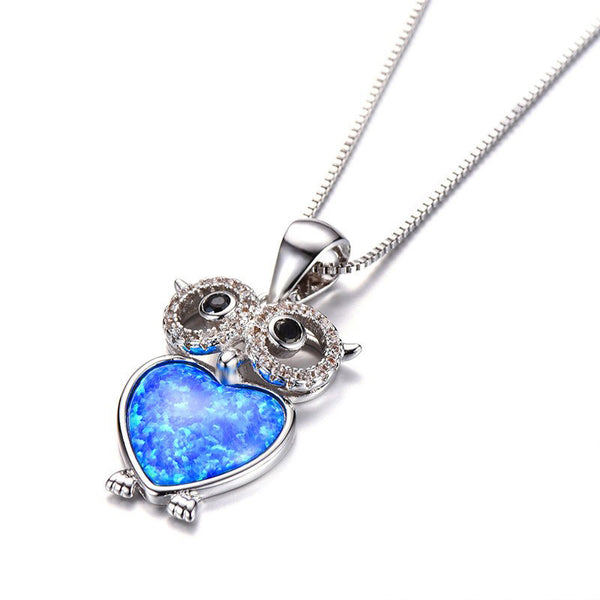 Owl Blue Opal Necklace