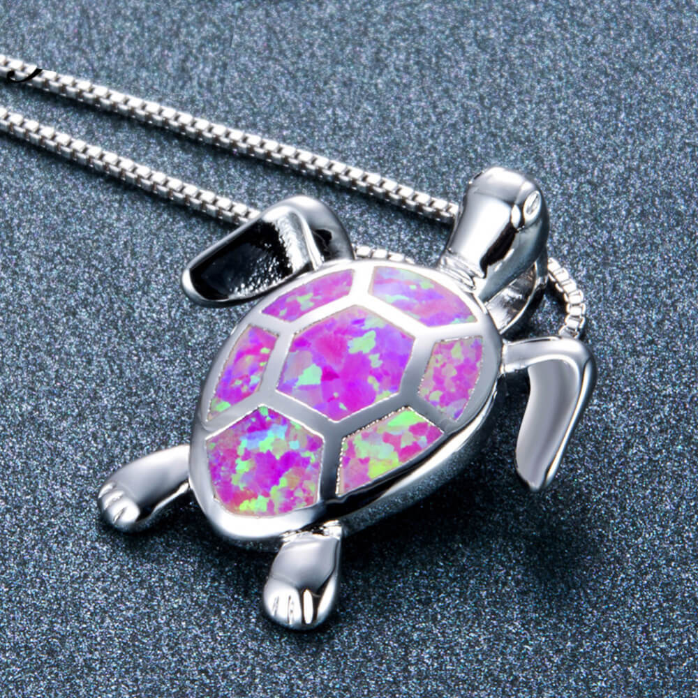 Pink Opal Turtle Necklace - 24 Style