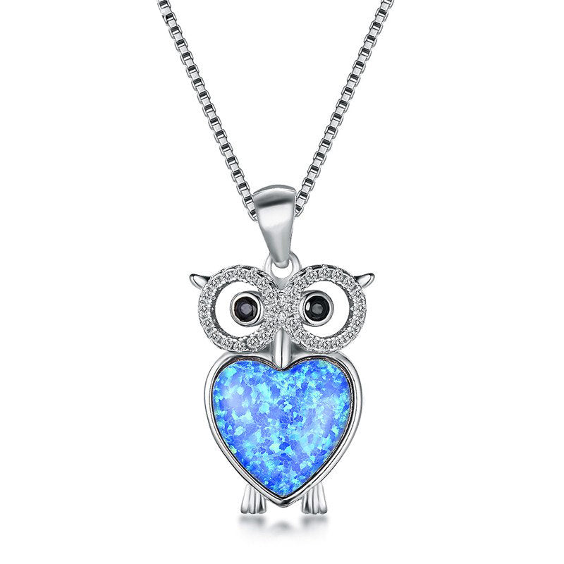 Owl Blue Opal Necklace - 24 Style