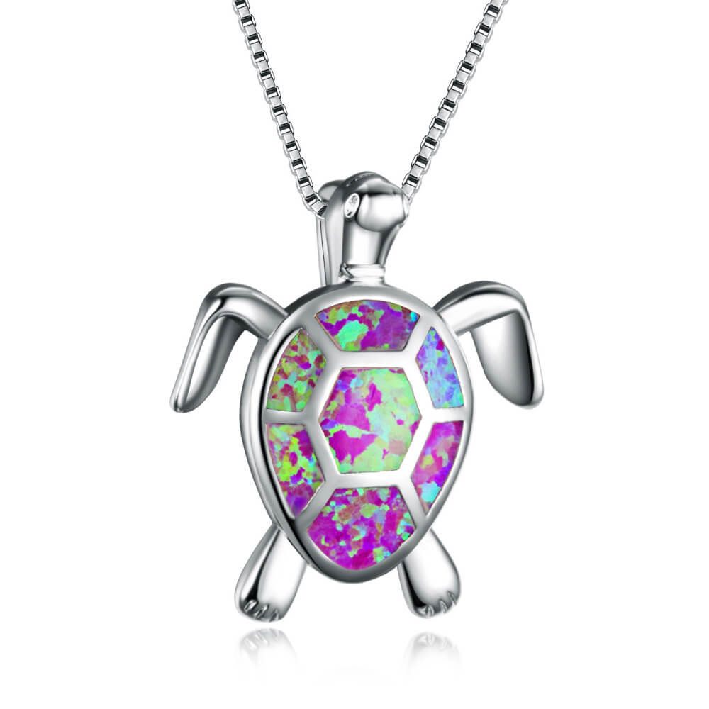 Pink Opal Turtle Necklace