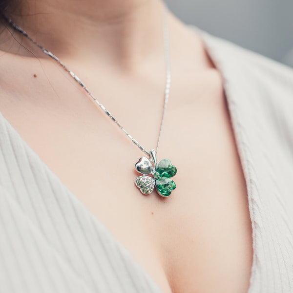 Green Four Heart Clover Necklace