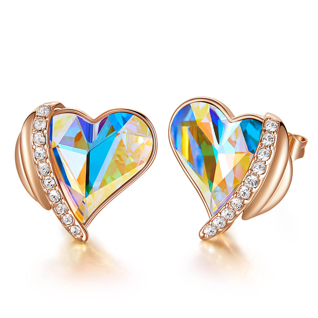 Aurora & Rose Gold Angel Heart Earrings