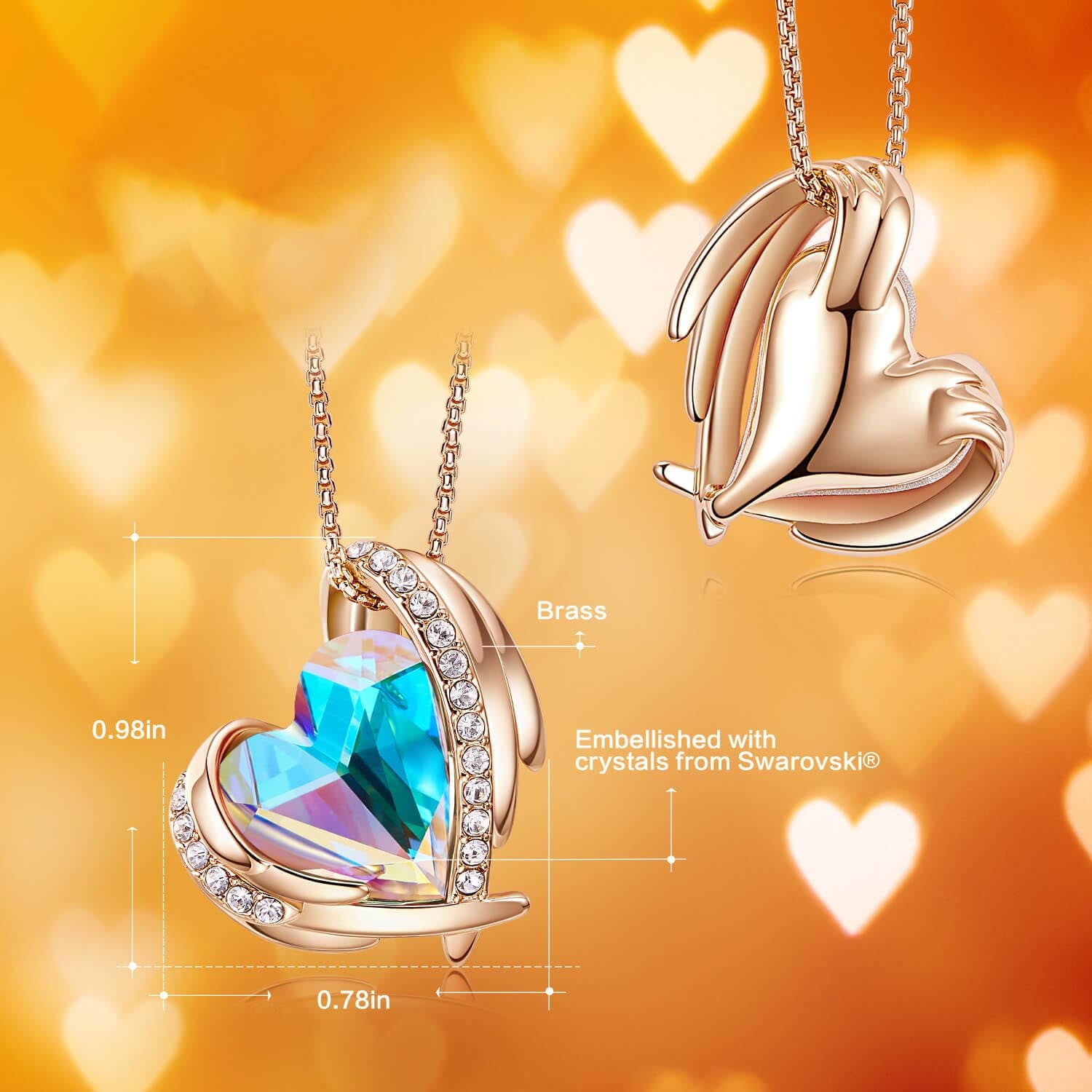 Aurora & Rose Gold Angel Heart Necklace
