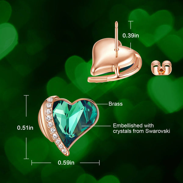 Green & Rose Gold Angel Heart Earrings