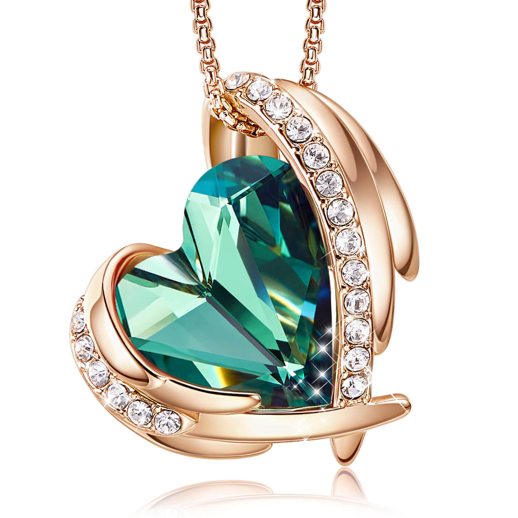 Green & Rose Gold Angel Heart Necklace