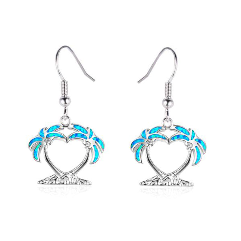 Palm Trees Opal Earrings - 24 Style