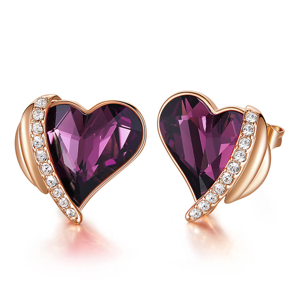 Purple & Rose Gold Angel Heart Earrings