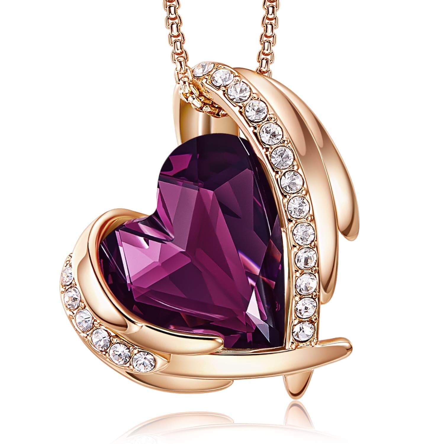 Purple & Rose Gold Angel Heart Necklace