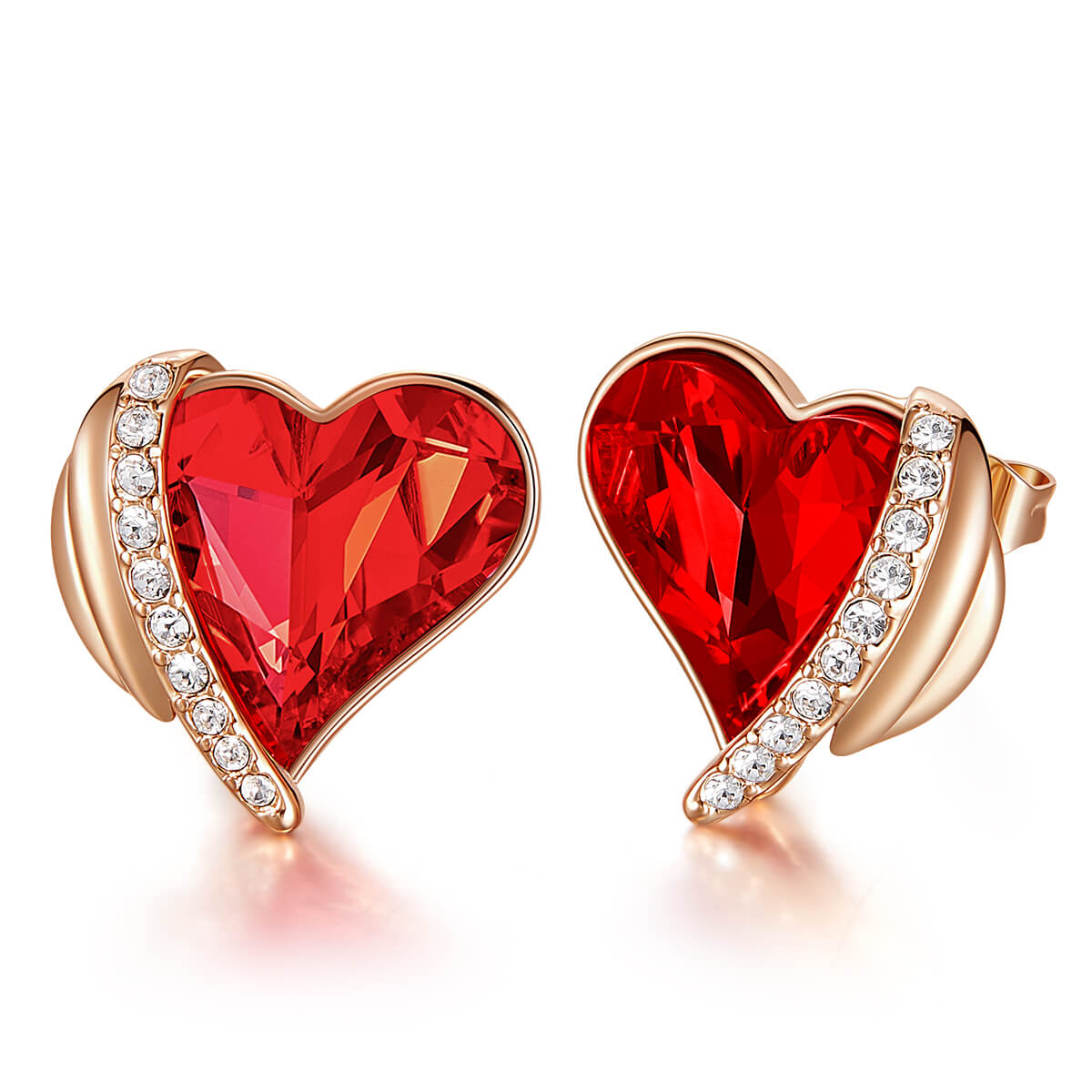 Red & Rose Gold Angel Heart Earrings