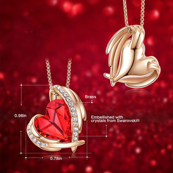 Red & Rose Gold Angel Heart Necklace