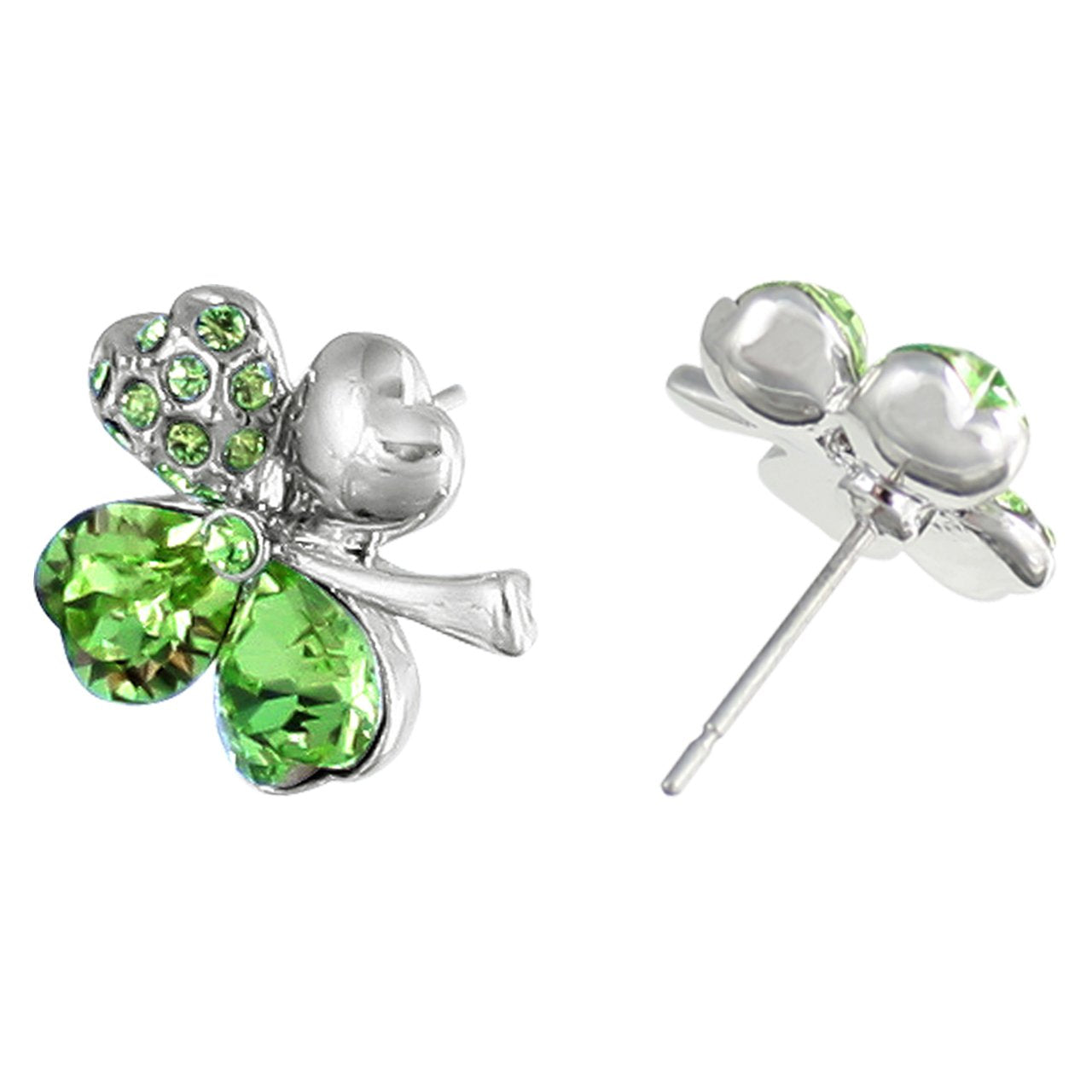 Green Four Heart Clover Earrings