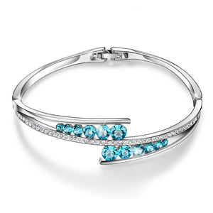 Blue Crystal Sterling Silver Bangle - 24 Style