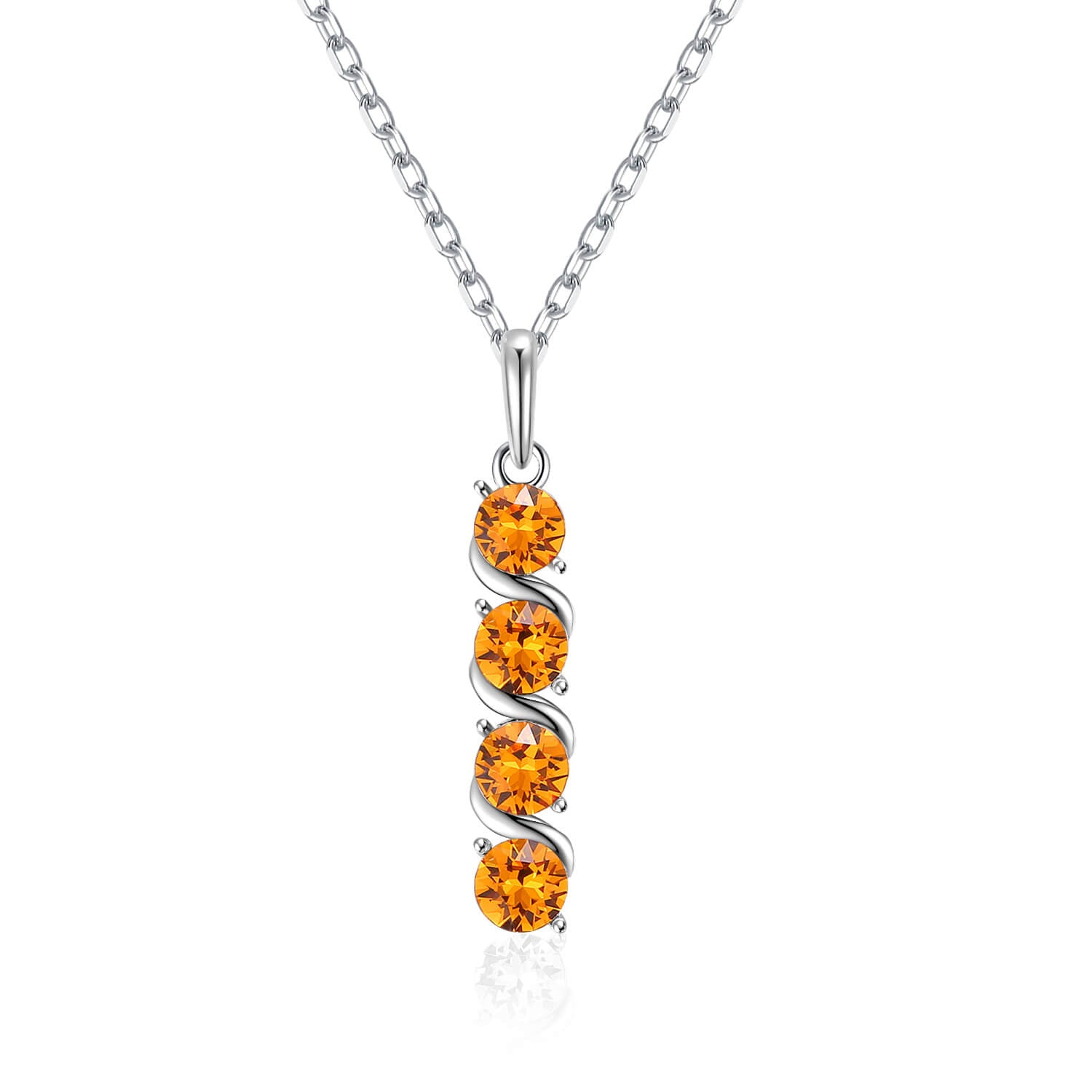 Four Birthcrystal Pendant Necklace