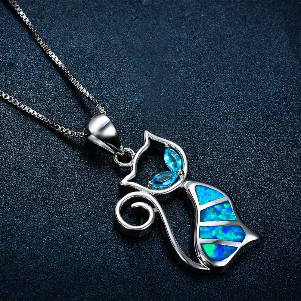 Blue Opal Cat Necklace - 24 Style