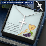John 6:35 Personalized Cross Necklace