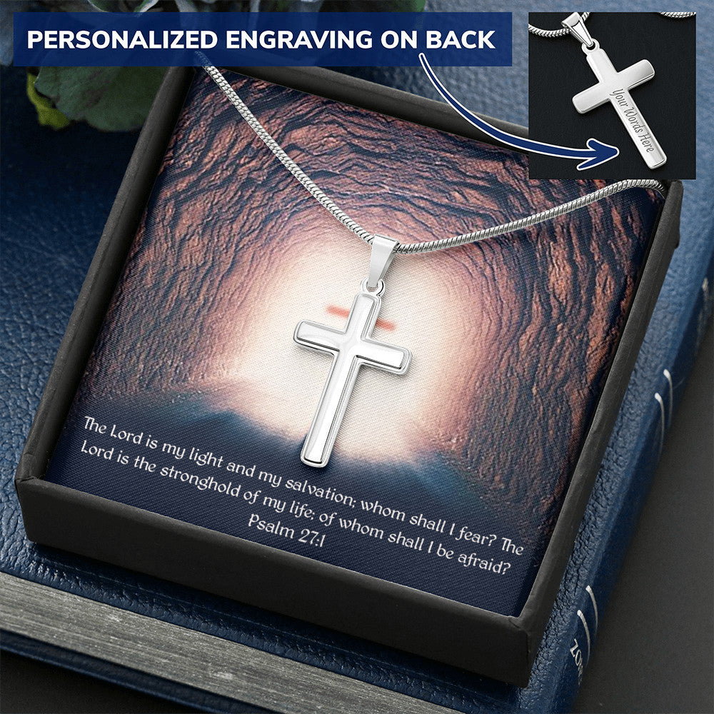 Psalm 27:1 Personalized Cross Necklace